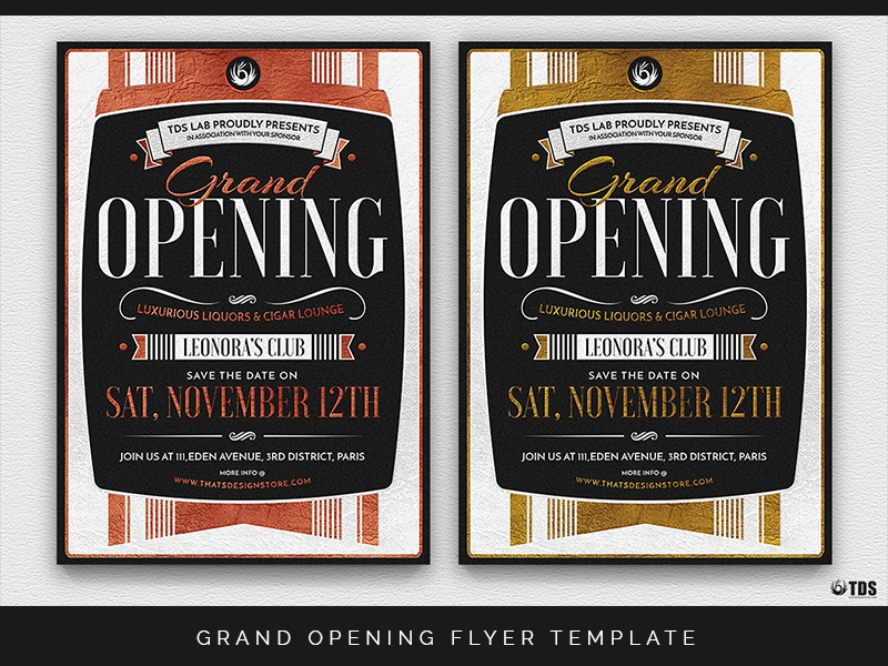 Grand Opening Flyer Template Classy Elegant Thatsdesignstore Typographic Gold Event Poster Deco Retro