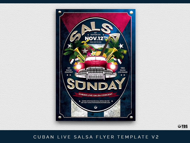Cuban Live Salsa Flyer Template V2 by Lionel Laboureur for Thats
