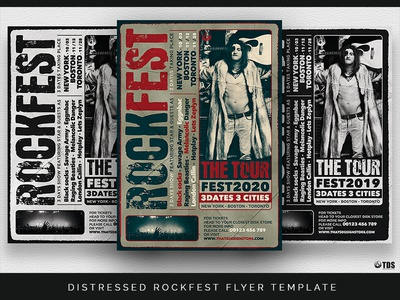 distressed rockfest flyer template by lionel laboureur dribbble