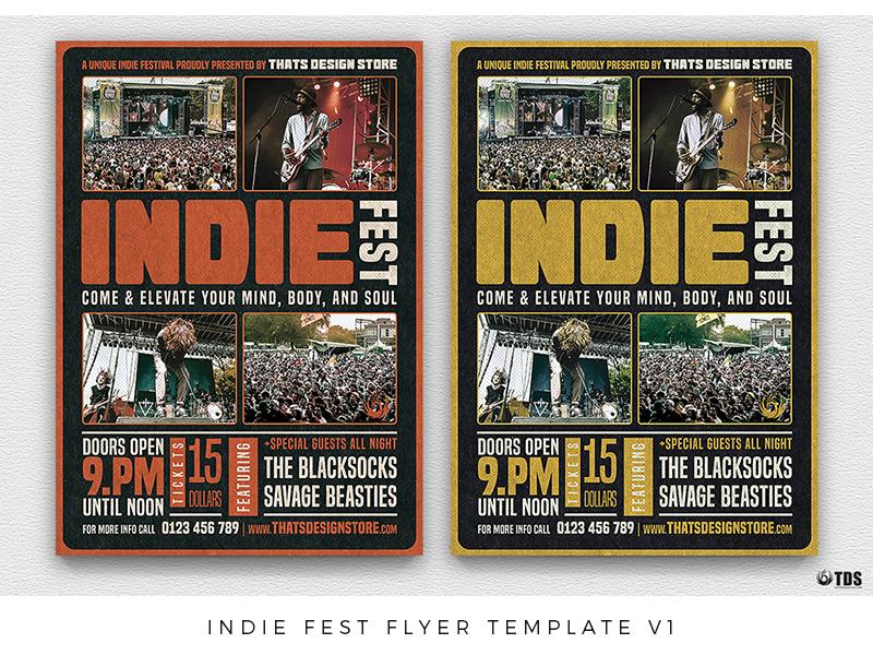 indie fest flyer template v1 by lionel laboureur dribbble dribbble