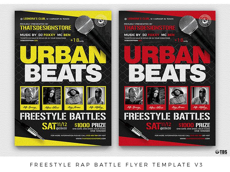 freestyle rap battle flyer template v3 by lionel laboureur dribbble
