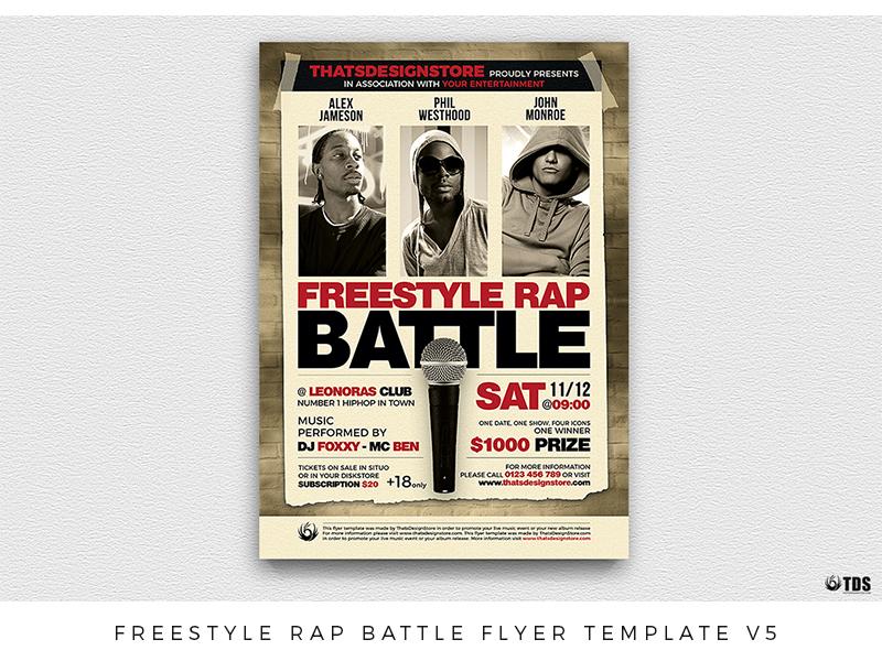 freestyle rap battle flyer template v5 by lionel laboureur dribbble