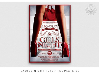Ladies Night Flyer Template V9 psd ladies night girls poster sexy flyer red thatsdesignstore woman high heels party