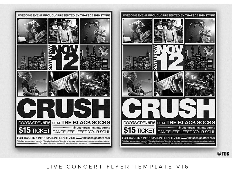 Band Flyer Templates | Live Concert Flyer Template V16 By Lionel Laboureur Dribbble