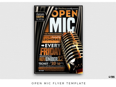 Open Mic Flyer Template performer performance open nightclub music microphone mic lounge lou606 leaflet karaoke golden gold flyer concert comedy club classy cigar black