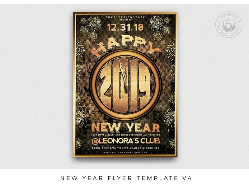 01 new year flyer template v4 dribbble