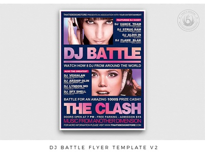 DJ Battle Flyer Template V2 poster party night musician music mix hiphop gig flyer festival electronic electro dj deejay concert competition club classy battle album
