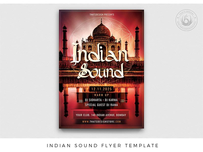 Indian Sound Flyer Template bar template taj mahal sound romantic poster post party palace oriental lounge indian india goa flyer festival electro diwali club buddha