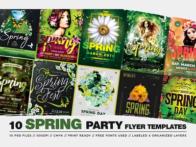 10 Spring Party Flyer Bundle