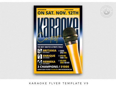 Karaoke Flyer Template V9 contest gig festival promotion voice singer music club comedy club talent show concert party microphone karaoke photoshop psd template poster flyer thatsdesign