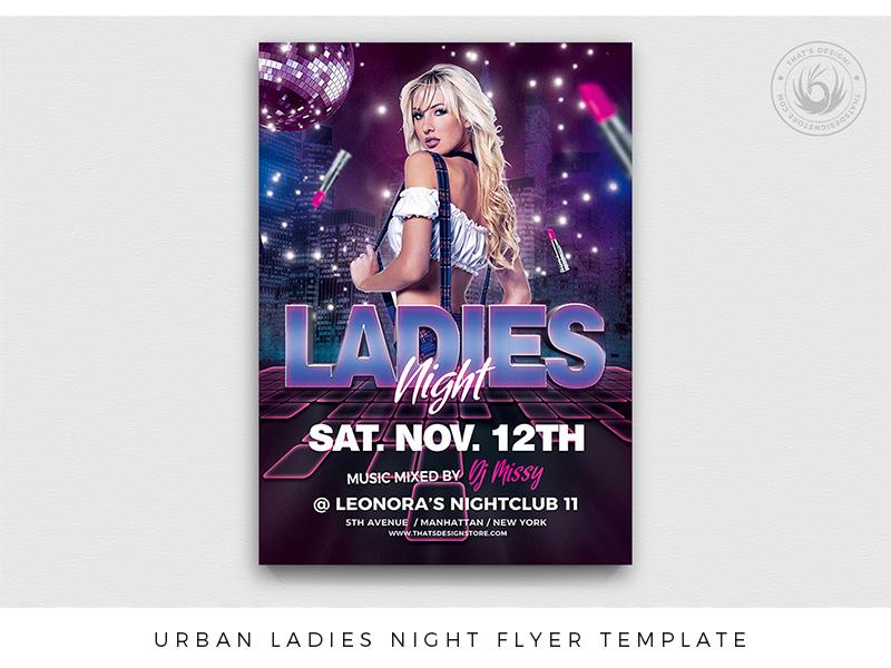 Urban Ladies Night Flyer Template girls night out girls underground urban promotion event pink dj nightclub club party beauty school night ladies sexy template poster flyer thatsdesign