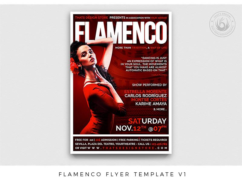 Flamenco Flyer Template V1 gipsy sexy exhibition show concert music dancing dance opera tango flamenco spanish spain red photoshop psd template poster flyer thatsdesign