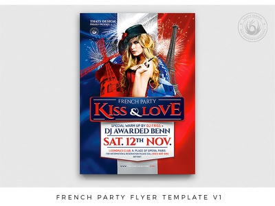 French Party Flyer Template V1 cabaret sexy burlesque blue day revolution july 14th 14 juillet bastille flag moulin rouge eiffel love paris france french template poster flyer thatsdesign