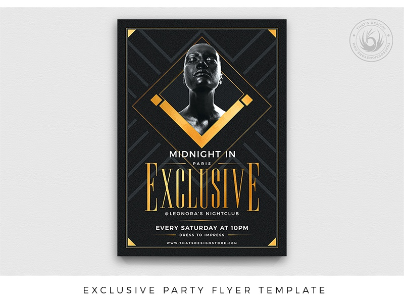 Exclusive Party Flyer Template opening vip exclusive elegant classy dj show event party golden gold black design print photoshop psd template poster flyer thatsdesign