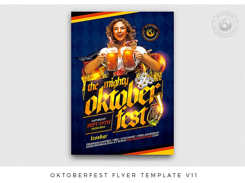 Oktoberfest Flyer Template V11 night pretzel brewery fest bar club folklore music bavaria party festival beer german germany oktoberfest photoshop psd template poster flyer