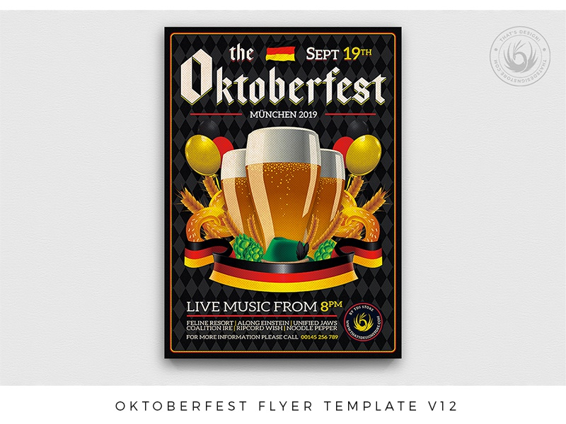 Oktoberfest Flyer Template V12 fest design pretzel pub bar club brewery german germany bavarian party beer festival oktoberfest photoshop psd template poster thatsdesign flyer