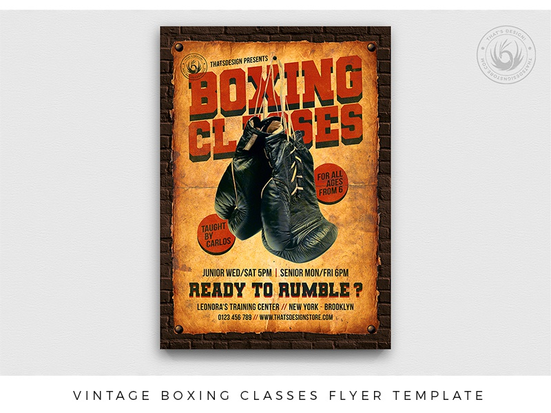 Vintage Boxing Classes Flyer Template gloves retro vintage club championship mma ufc martial arts classes lessons night fight boxing psd design photoshop psd template poster flyer thatsdesign