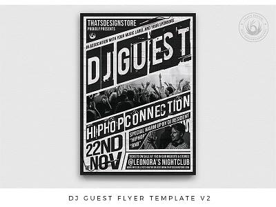 Dj Guest Flyer Template V2 blackandwhite music design photoshop psd template poster flyer festival gig club hiphop rap underground urban battle concert party deejay dj