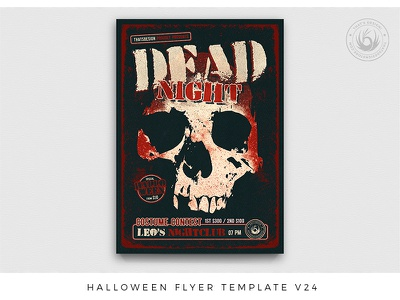 Halloween Flyer Template V24 red black nightclub party designs print photoshop psd template poster flyer freakshow skull death dead costume scary night fright halloween
