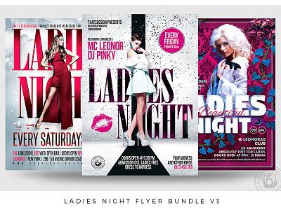 Ladies Night Flyer Bundle V3 promotional promotion star beauty pink classy elegant modeling catwalk nightclub party night sexy womwn girls ladies bundle template poster flyer