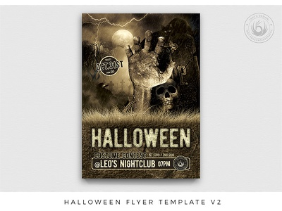 Halloween Flyer Template V2 tombstone freakshow scary terror cemetary horror night club walkingdead living dead zombie design print photoshop psd template poster flyer party halloween