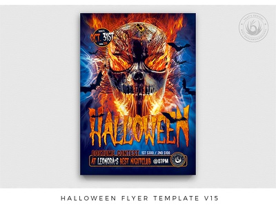 Halloween Flyer Template V15 promotional promotion bats nightclub club fire skull freakshow freak terror horror scary photoshop psd template poster flyer night halloween party halloween