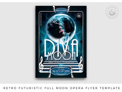Retro Futuristic Full Moon Opera Flyer Template