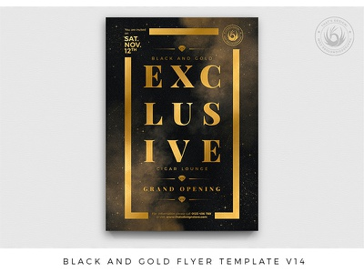 Black and Gold Flyer Template V14 lounge nightclub club invitation grand opening photoshop psd template poster flyer event party luxury exclusive elegant classy golden black and gold gold black