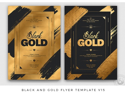 Black and Gold Flyer Template V15 lounge club nightclub night elegant classy luxury psd design print photoshop psd template poster flyer party invitation golden black and gold gold black