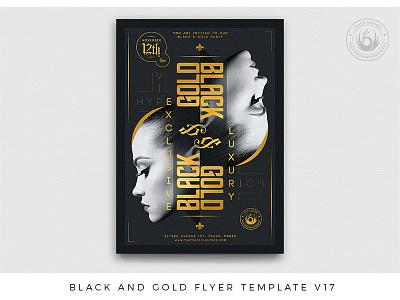 Black and Gold Flyer Template V17 dj nightclub lounge upsidedown party club invitation grand opening elegant classy rich vip exclusive luxury black and gold golden gold black poster flyer