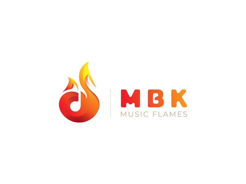 MBK Music Flames & Awards Logo branding brand identity identity brand symbol art illustraion musician orange awards music awards music flames logotype negative space logo fox fire music note music flame