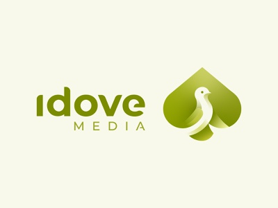 Idove Media - Bird logo green identity branding identity mascot creative design golden ratio logo grid illustraion animal logo symbol mark logo sketch logo portfolio logofolio branding negative space logo negative space logo design black spade bird logo