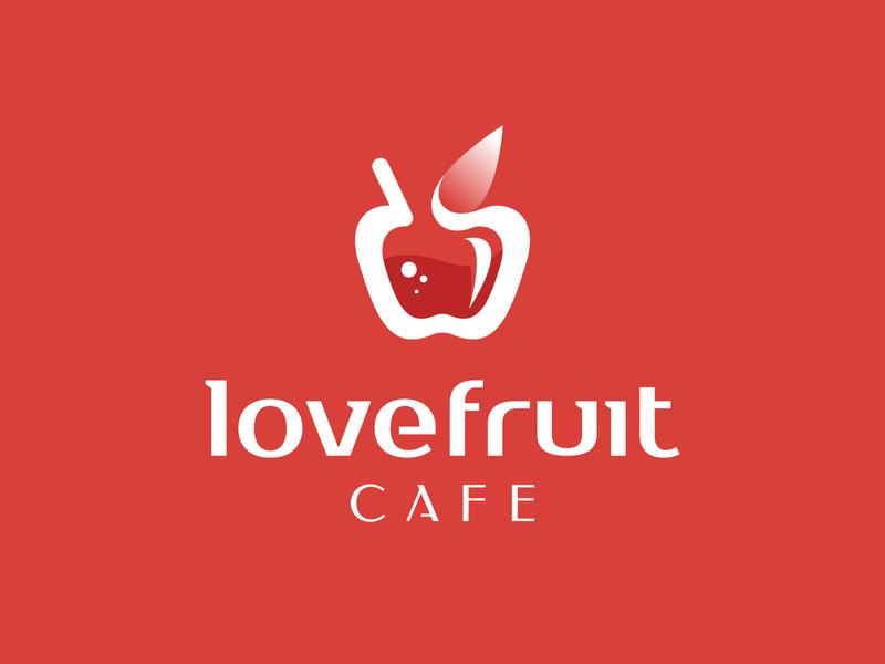 Love Fruit Cafe - Logo design sketch identity logo portfolio apple cafe negative space nature juice fruit love mark branding symbol logo logo design