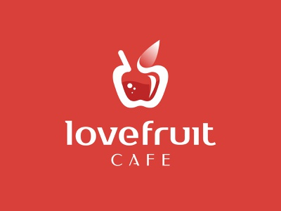 Love Fruit Cafe - Logo design sketch identity logo portfolio apple cafe negative space nature juice fruit love mark branding symbol logo logo design