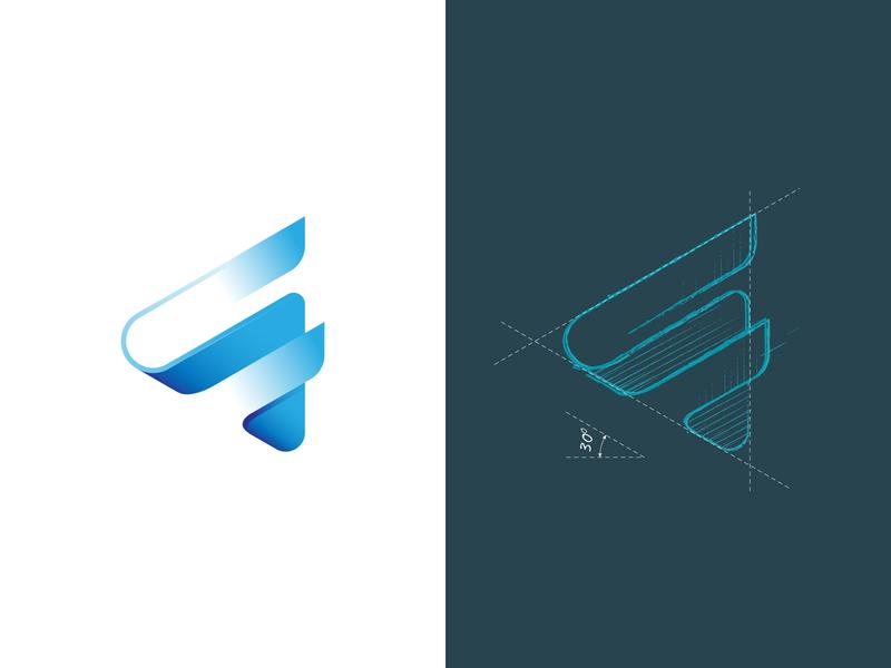 F Play Logo logotype blue creative application entertainment film f logo play logo sketchapp lettermark letter f play grid sketch mark branding symbol logo logo design