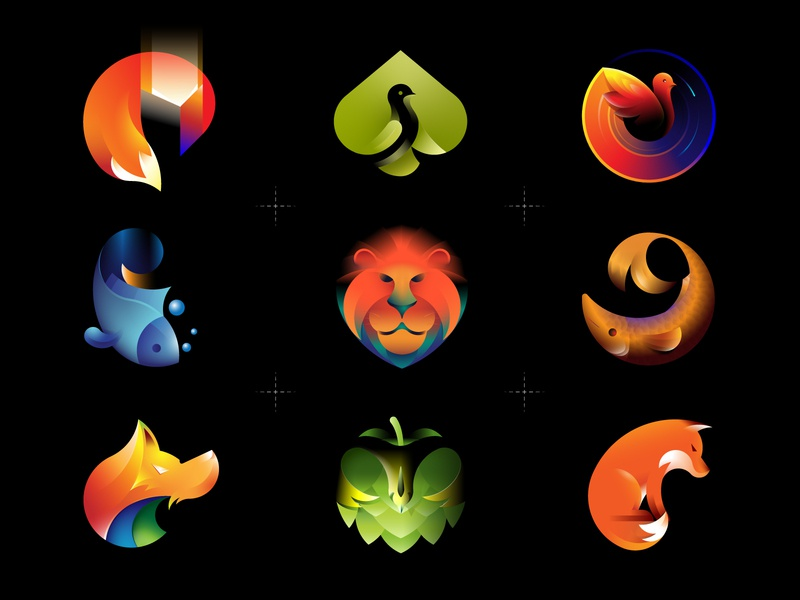 Logofolio wolf logo portfolio symbol multicolor mark logofolio logo design logo lion identity gradient fox fish dinosaur color branding bird animal logo