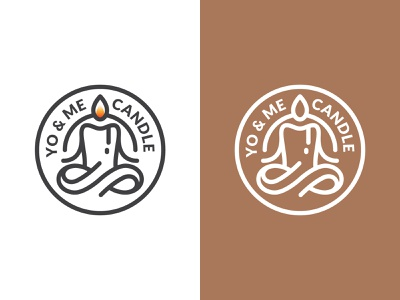 Yoga & Meditation Candle Logo zen meditate meditation yoga candle mark branding symbol logo logo design
