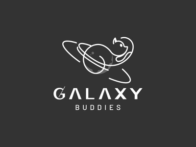 Galaxy Buddies Logo planet cafe sketch logo grids symbol mark animals logo animal buddies galaxy idea logo ideas cat logo cat logo design