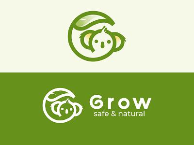Koala Logo Design logo design animal logo branding green dainogo g letter grow safe animals logo animal nature natural logo leaf logo koala bear bear koala