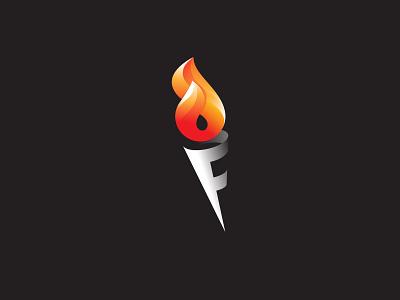 F logo - Fire + Torch mark branding symbol logo logo design minimal modern creative logo logo ideas torch logo fire logo torch f fire logotype letter f f logo
