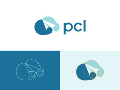 PCL - Cloud & Paper Plane Logo cloud logo art modern logo creative logo negative space mark branding symbol logo logo design paper plane cloud