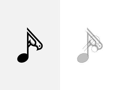 Bird and Music Note Symbol logo for sale purchase logo monogram logo design golen ratio bird logo animal bird dainogo music logo music note musical