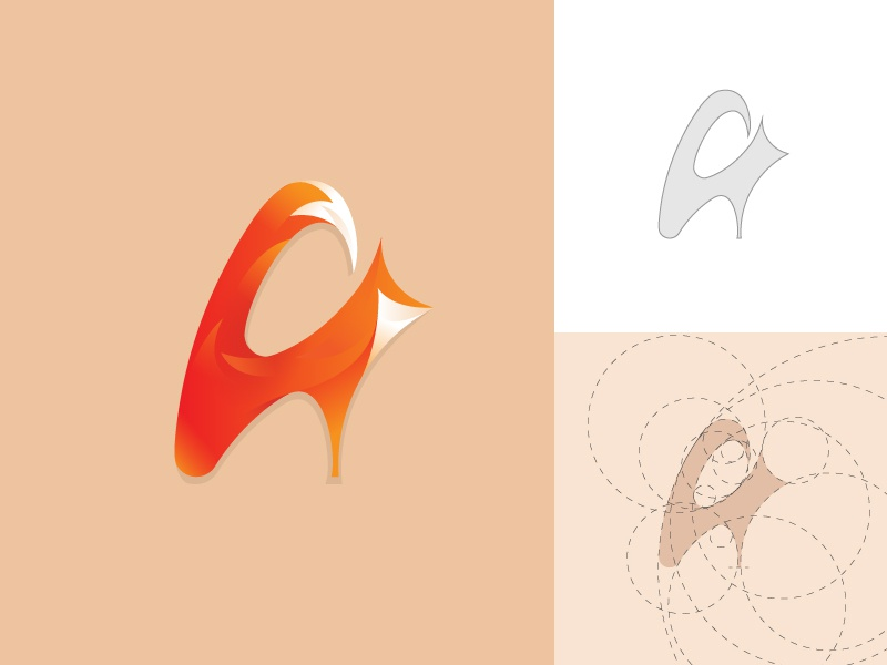 A + Fox Logo with golden ratio orange nature animal mark logo fox grid logo a fox logo design golden ratio
