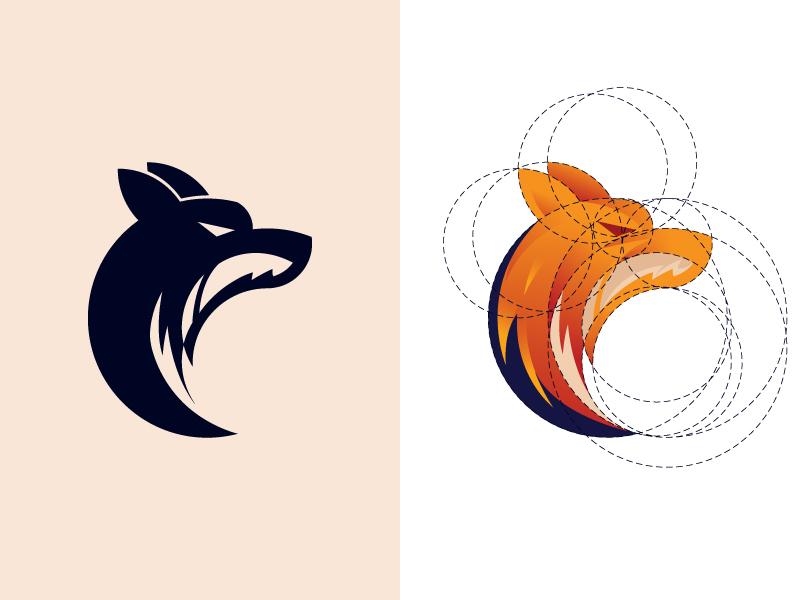 Fox or Wolf? Golden Ratio Tutorial fox logo design golen ratio fox logo moon wolf dainogo tutorial youtube logo mark symbol