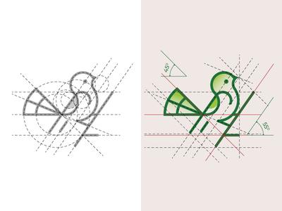 Bird Logo and Golden Ratio Grids bird logo for sale purchase logo monogram logo design golen ratio bird logo animal dainogo music logo symbol grid