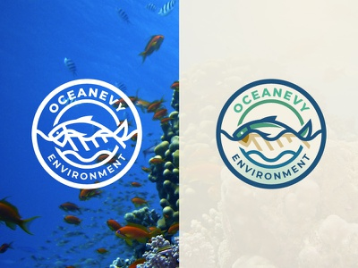 OCEANEVY Environment Logo circle logo emblem logo environment logo fish logo logo design creaitve logo nature fish ocean environment