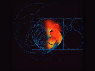 Lion: Sketch and golden ratio grid
