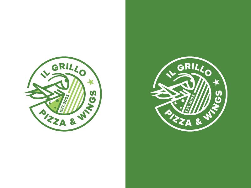 IL Grillo Pizza & Wings Logo nature emblem logo mark logo logo design wing pizza grillo