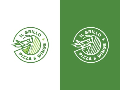 IL Grillo Pizza & Wings Logo nature emblem logo mark logo logo design wing pizza grillo