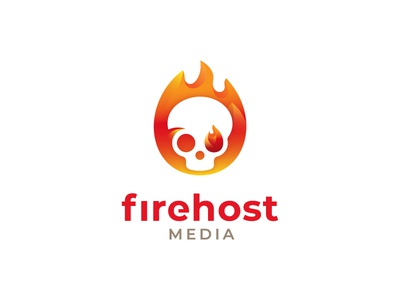 Firehost logo design skull logo fire logo media branding symbol mark grids golden ratio logo skull ghost host fire